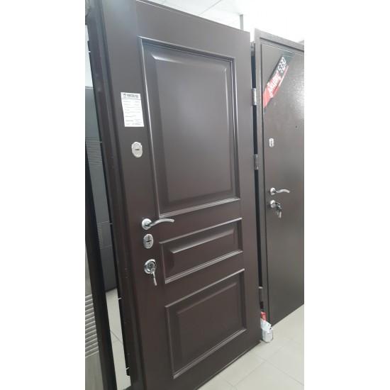 Вхідні двері Альянс Магнат 960*2050 праві автоемаль 8017зерно штапік АЛ-07 рама 8017+т\м мотура 54\кале