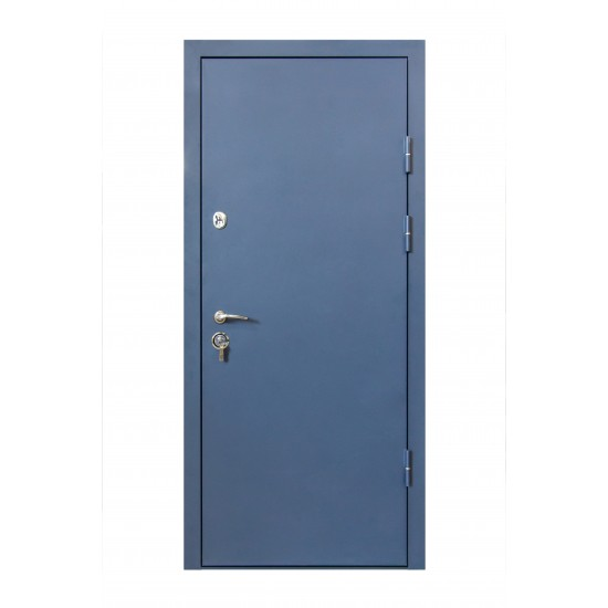 Дверь Т4.1 (В020) 860 термо синя ~160 біле дерево + без глазка ліва ручка GavrocheBarium