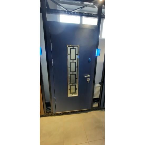 Вхідні двері MAGDA Т 4.1 (сині) 1200*2050 термо біле дерево  160 ковка №24 праві