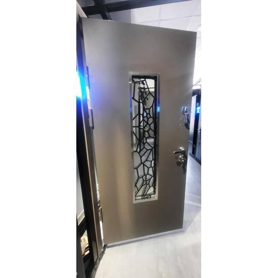 Вхідні двері MAGDA Т 4.1 1200х2050 термо графит 157 ковка №19 ліві
