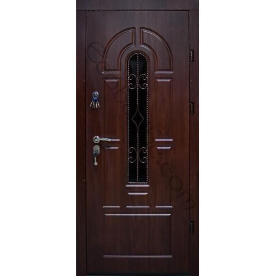 Вхідні двері Екобуд Бастіон Плюс 960 малюнок 92 ПВХ-37 ковка 2 скло