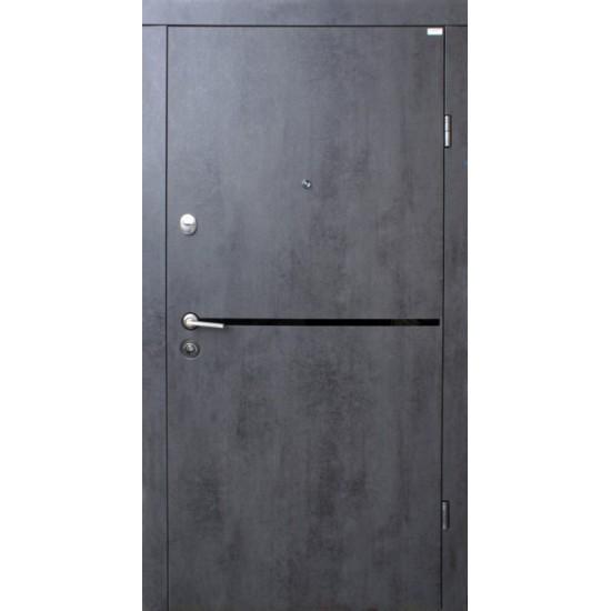 Вхідні двері FORT 860х2050  Стандарт Літа Black  Бетон темний праві