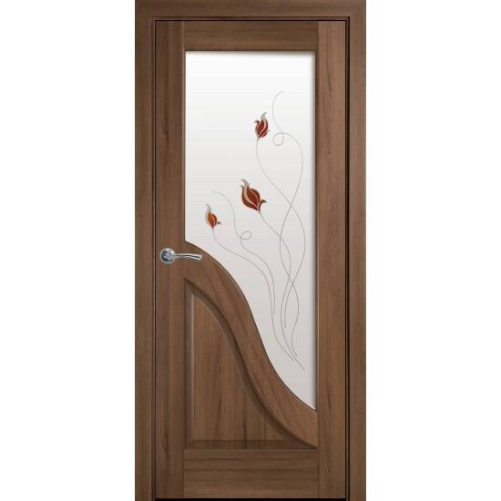 Міжкімнатні двері Новий Стиль ПВХ Делюкс Амата 600 мм золота вільха Р1