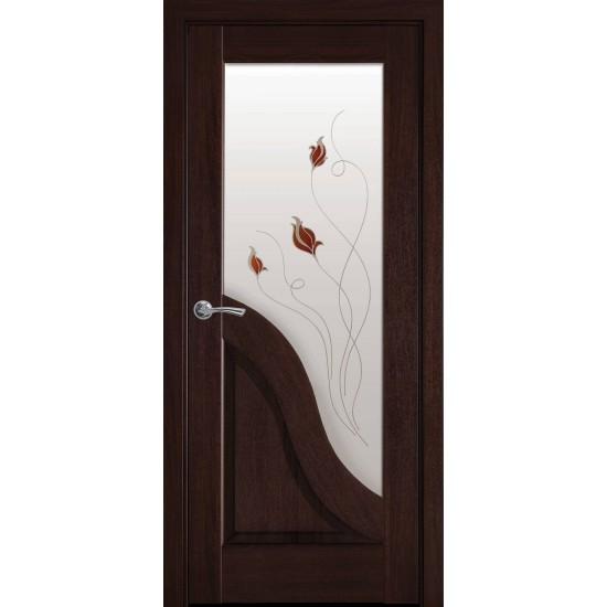 Міжкімнатні двері Новий Стиль ПВХ Делюкс Амата 600 мм каштан Р1