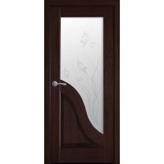 Міжкімнатні двері Новий Стиль ПВХ Делюкс Амата 600 мм каштан Р2