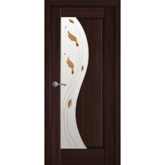 Міжкімнатні двері Новий Стиль ПВХ Делюкс Ескада 600 мм каштан Р1