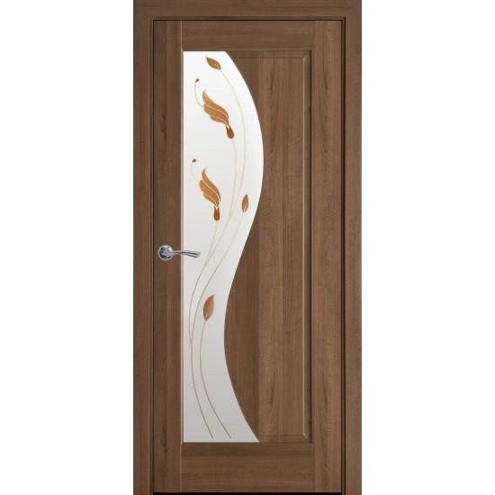 Міжкімнатні двері Новий Стиль ПВХ Делюкс Ескада 600 мм золота вільха Р1