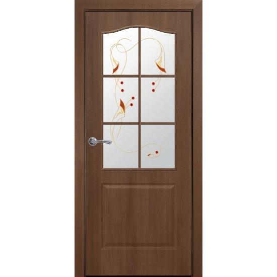 Міжкімнатні двері Новий Стиль Фортіс ПВХ вітраж 600 мм  вільха Р1