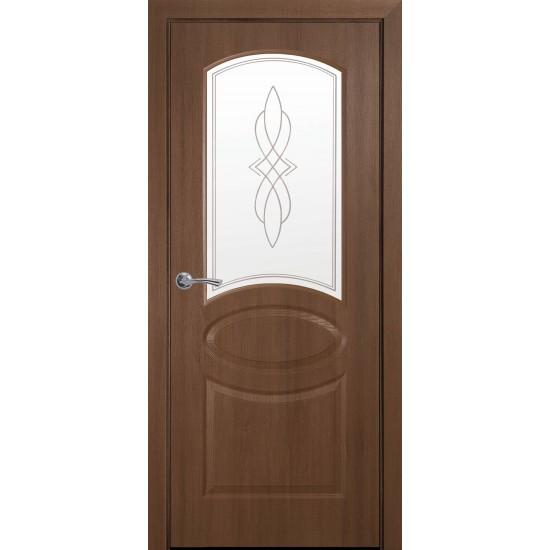Міжкімнатні двері Новий Стиль Фортіс ПВХ пів скло (матове) 600 мм  вільха