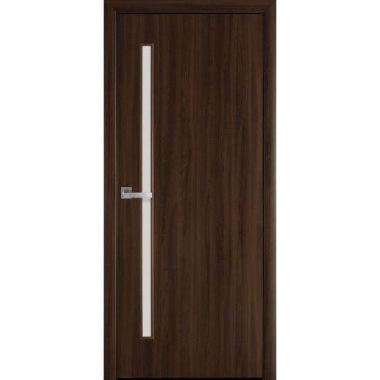 Міжкімнатні двері Новий Стиль Екошпон Глорія 700 мм горіх 3D скло