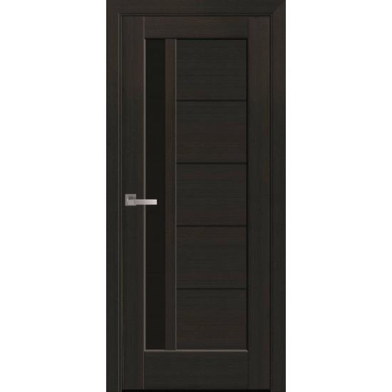 Міжкімнатні двері Новий Стиль ПВХ Делюкс Грета 600 мм венге new скло BLK