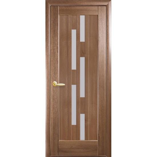 Міжкімнатні двері Новий Стиль ПВХ Делюкс Лаура 600 мм золота вільха скло