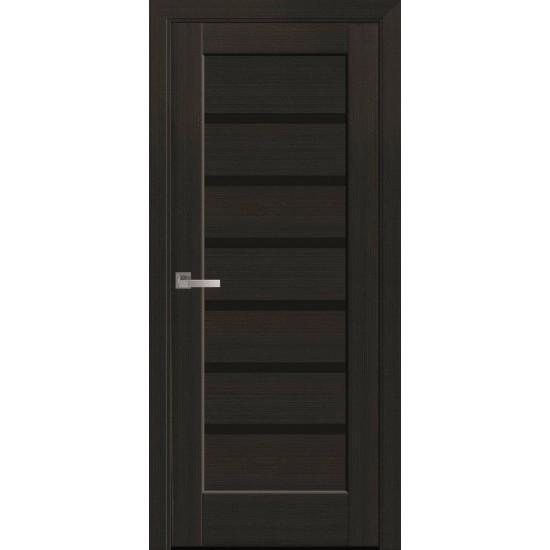 Міжкімнатні двері Новий Стиль ПВХ Делюкс Ліннея 900 мм венге new скло BLK
