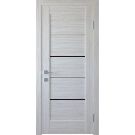 Міжкімнатні двері Новий Стиль ПВХ Делюкс Міра 600 мм  ясен new скло BLK