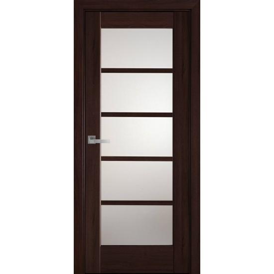 Міжкімнатні двері Новий Стиль ПВХ Делюкс Муза 600 мм каштан скло