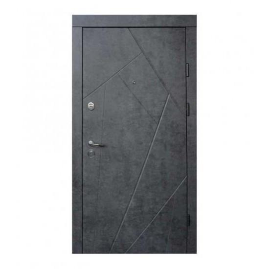 Вхідні двері Qdoors850*2050 Ультра Флеш, Мрамор темний/Бетон бежевий.