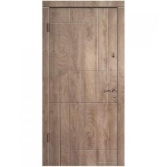Вхідні двері MAGDA Т-2 860х2050 спил дерева коньячний 156 праві