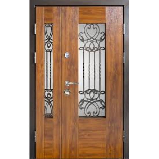Вхідні двері MAGDA Т-6 1200х2020 метал Дуб золотий 621 термо Дуб золотий 160 решітка №20 ліві