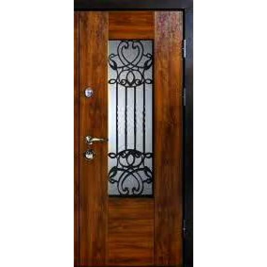 Вхідні двері MAGDA Т-6 960х2050 метал Горіх темний 621 термо Дуб бронзовий 160 решітка №20 праві