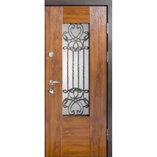 Вхідні двері MAGDA Т6 960х2050 метал Дуб золотой 621 термо дуб золотий 160 ковка 20 праві