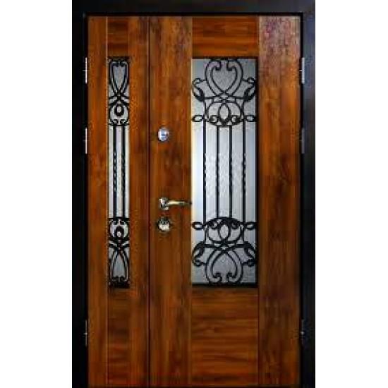 Вхідні двері MAGDA Т-6 1200х2050 метал Горіх темний 621 термо Дуб бронзовий 160 решітка №20 праві