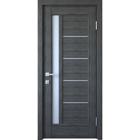Міжкімнатні двері Новий Стиль Грета 600 мм  ПВХ Делюкс grey new скло