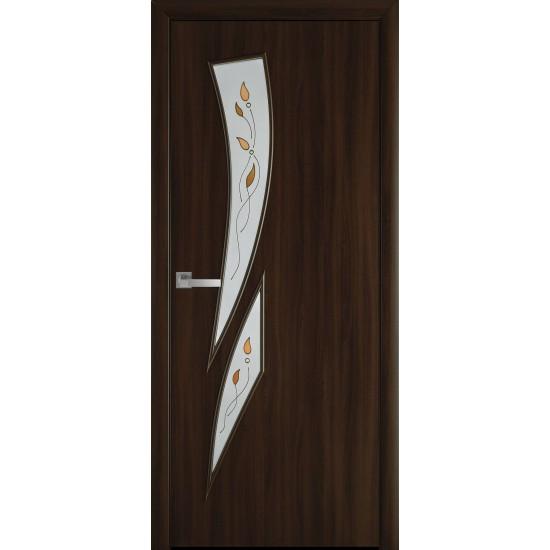 Міжкімнатні двері Новий Стиль Екошпон Камея 800 мм горіх 3D  Р1