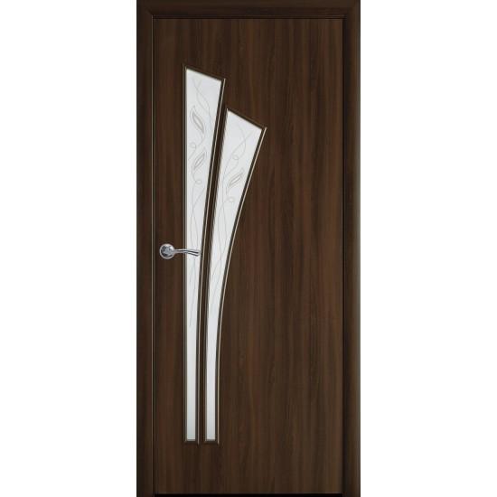 Міжкімнатні двері Новий Стиль Лілія 600 мм  Екошпон горіх 3Д скло 1