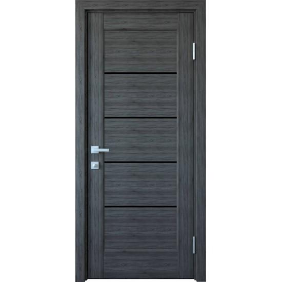 Міжкімнатні двері Новий Стиль ПВХ Делюкс Ліннея 700 мм  бук попелястий скло BLK