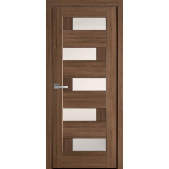 Міжкімнатні двері Новий Стиль Піана 600 мм ПВХ Делюкс золота вільха  скло BLK