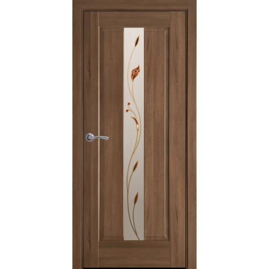 Міжкімнатні двері Новий Стиль Прем'єра 900 мм ПВХ Делюкс золота вільха  скло 2
