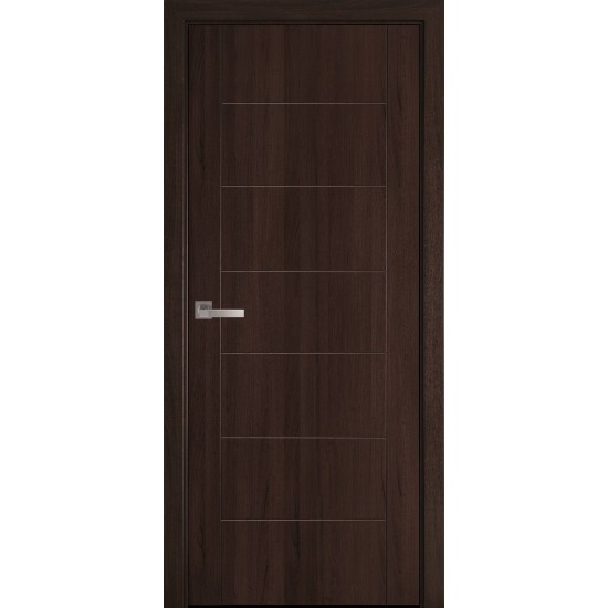 Міжкімнатні двері Новий Стиль ПВХ Делюкс Ріна 700 мм  каштан глухі GR termopack UM