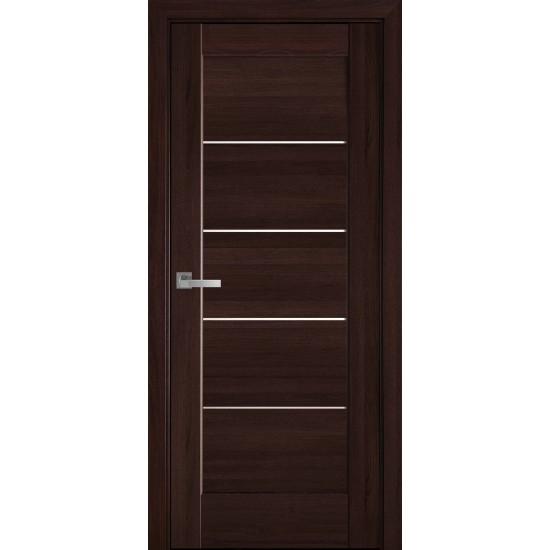 Міжкімнатні двері Новий Стиль ПВХ Делюкс Міра 600 мм  каштан скло