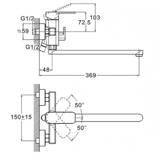Змішувач  ZEGOR для ванни  довгий євро LEB7-В123