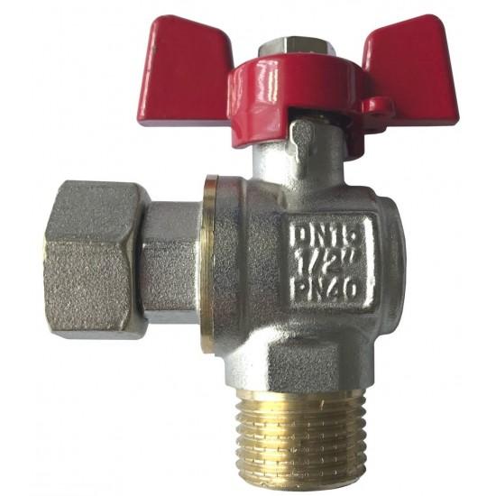 Кран кульовий кутовий з накидною гайкою 1/2 НВ д/підкл.газового котла Solomon PN40 NEW ART.160402