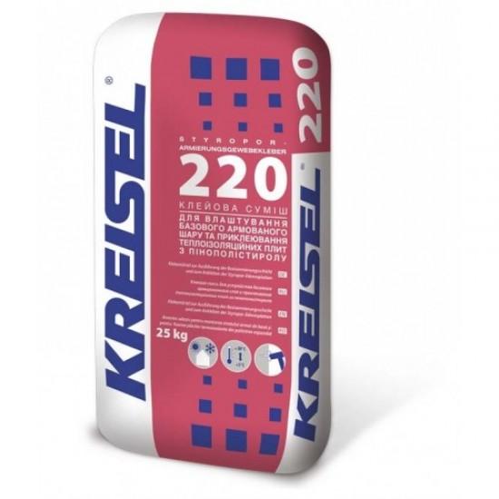 Клейова суміш для приклеювання плит ППС армуюча Kreisel 220 25 кг